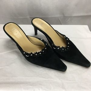 Coach Black Suede Mules / Heels with Flowers